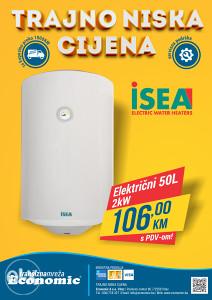 Bojler električni 50l Ferroli Isea samo 106 KM!