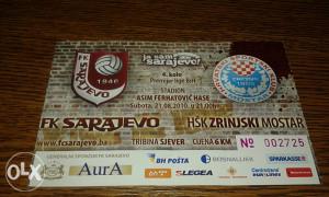 Ulaznica Sarajevo - Zrinjski