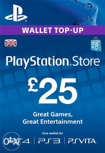 PSN UK PlayStation Network Card £25 (PS3  PS4) Gift