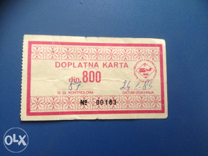 DOPLATNA KARTA...800 DINARA
