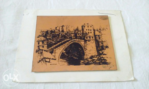 Mala bakarna pločica slika Stari most Mostar