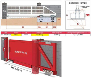 KAPIJA KLIZNA - SAMONOSIVA - KONZOLNA (OKOV)-250 kg