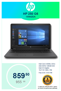 LAPTOP HP 250 G6 1XN42EA i3-6006U 2GHz 15,6""