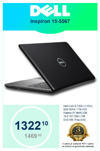 LAPTOP DELL Inspiron 5567 i5-7200U 3,1GHz 15,6""
