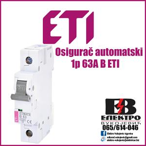 Osigurac automatski 1p 63A B ETI