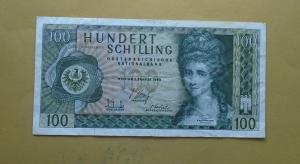 AUSTRIA,100 SCHILLING 1969