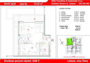 Stan u Lukavcu,SPO AAM2-STAN 9a (54,55 m2)
