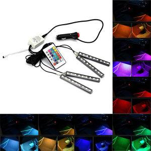 LED svjetla 4x 9LED RGB za auto spajanje na upaljac