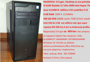 Desktop PC i3 6100,Asus H110M,8GB DDR4,500GB,Intel 530