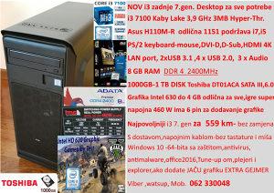 Desktop PC i3 7100,Asus H110M,8GB DDR4,1TB,Intel 630