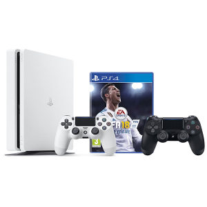 PlayStation 4 500GB S White + DS4 Black + FIFA 18 PS4