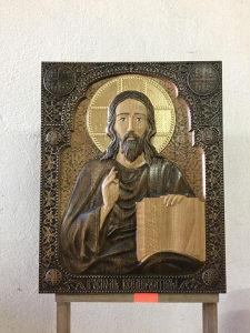 Izrada ikona u duborezu.Hristova ikona