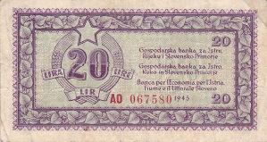 Jugoslavija 20 lira 1945