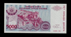 HR Knin 5 000 dinara 1993 UNC