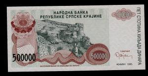 HR Knin 500 000 dinara 1993 UNC