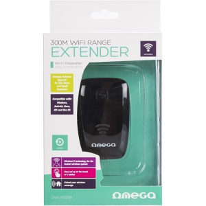 Omega Wifi Repeater 300mbps - Black - OWLR325B