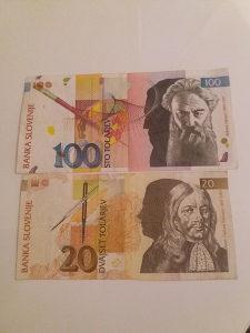 Slovenski tolar -novcanica 100 Tol.i nov. 20 tol...