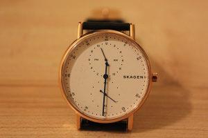 Muški Sat Skagen Signatur One-Hand Black Leather Watch