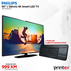Philips UltraHD Smart TV 50PUS6162 + Logitech K400