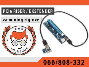 PCI-e PCIe Riser Rajzer Ekstender Mining Majning