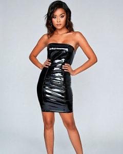 Crna vinyl haljina