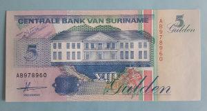 Suriname 5 guldena 1991. UNC