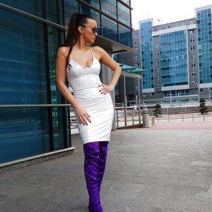 Bijela kožna haljina
