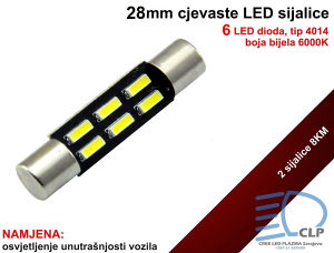 28mm LED cjevasta sijalica za unutrašnjost vozila