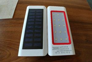 Powerbank solarni 20 000 mah crvena Led lampa