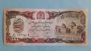 Afganistan 1000 afganis 1991. UNC