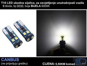 T10 ubodne LED sijalice 6 dioda za unutrašnjost vozila
