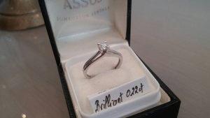 Zlatni prsten 585 dijamant 0,22ct vs