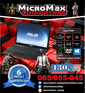LAPTOP GAMING ASUS i3/8GB/750 3 generacija
