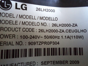 LG26LH2000 ZA ( u  dijelovima)
