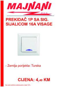 Prekidač 1P sa sig. sijalicom 16A VISAGE