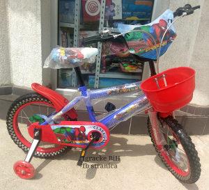 """Bicikl djeciji biciklo djecije 4 do 7god. 16"""" SPIDERMAN"""