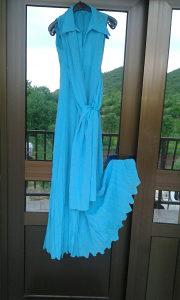 Svecana duga haljina tirkizno plave boje