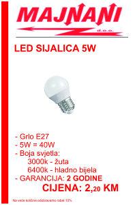LED SIJALICA 5W, E27 - KUGLA