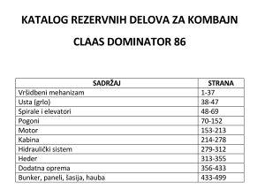 Claas Dominator 86 - katalog dijelova
