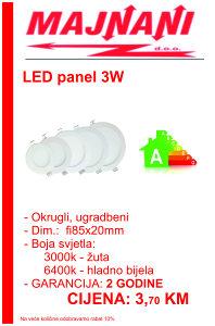 LED PANEL 3W, OKRUGLI, UGRADBENI