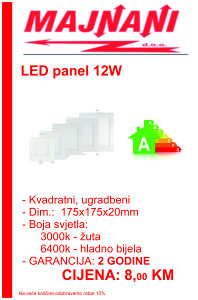 LED PANEL 12W, KVADRATNI, UGRADBENI
