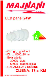 LED PANEL 24W, OKRUGLI, UGRADBENI