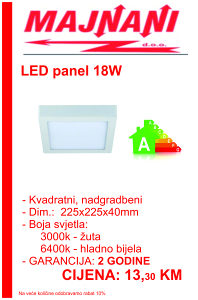 LED PANEL 18W, KVADRATNI, NADGRADBENI