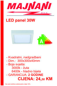 LED PANEL 30W, KVADRATNI, NADGRADBENI
