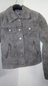 Ženska kratka jakna,siva boja (Velur koža),vel.38