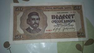 50 srpskih dinara 1 maj 1942