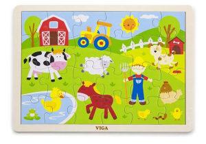 Igračke Drvene puzzle 24 kom - domaće životinje