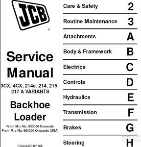 JCB 3CX-4CX kombinirke- Radionički priručnik