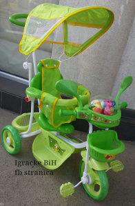 Tricikl djeciji guralica triciklo MUZICKI ZELENO NOVO