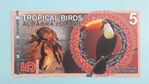 Aldabra islands 5 dollars 2017.